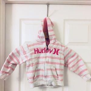 Hurley | Pink & White Stripes | Full Zip Hoodie